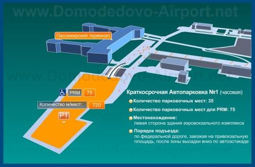 Краткосрочная Автопарковка №1 на схеме аэропорта Домодедово